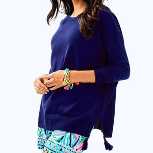 Lilly Pulitzer M Sweater Navy Blue Cotton Bld